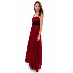 Vestido Largo Con Faja De Raso, Brishka, V-0016