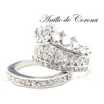 Anillo Corona Princesa Plata Rodio Gratis Anillo Brillantes