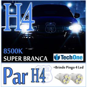 Par Lâmpada Super Branca H4 55w Tipo Xenon 8500k +pingo Led