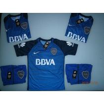 Camiseta + Short Boca Juniors Niño Nueva Alternativa Azul