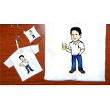 Camiseta Para O Dia Dos Pais Com Caricatura Kit 3 Unid