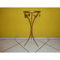Aparador Redondo Em Ferro/folha Com Vidro Cor: Dourado