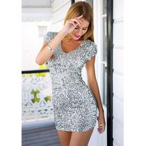 Vestido Corto Plata Coctel Plateado Mini Vestido Talla Xl