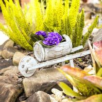 Porta Flores Carrinho De Mão Barril Em Madeira