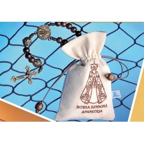 Kit 10 Terços Nossa Senhora Aparecida Cordão No Saco Bordado