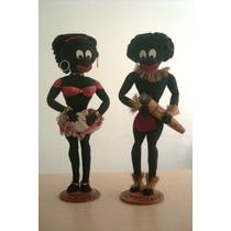 A2788 Antigos Bonecos De Dançarinos Africanos, Em Tecido, Me