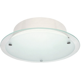Lustre Plafon Redondo Plano Borda Cristal P/ Teto/ventilador