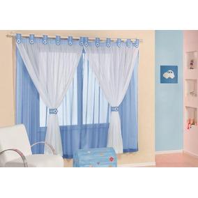 Cortina P/ Quarto Infantil Carrinho Azul De 2m Varão Simples