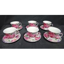 Jogo De Xicaras De Chá Em Porcelana Nobre Florais Lindos