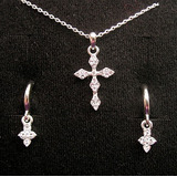 Collar Aretes Cruz Diamanti Unique Primera Comunión Novia