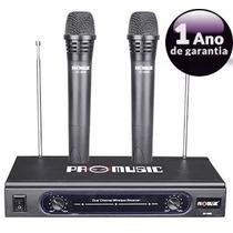 Microfone Sem Fio Profissional Promusic Duplo Vhf