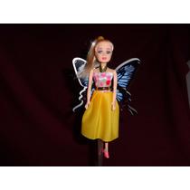 3 Boneca Mini Barbie Genérica 15cm Com Asas Butterfly