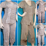 Conjunto Manga Corta Mujer Blusa+pantalon Capri Corte Medio