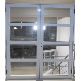 Portón Puerta Doble Aluminio Vidrios Horizontales 180x200 Cm