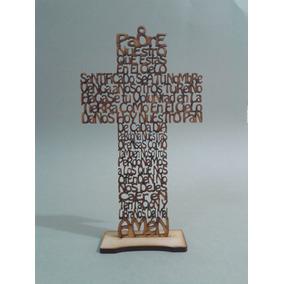 Cruz De Mdf Con Oración Padre Nuestro Madera Country 20 Cms.