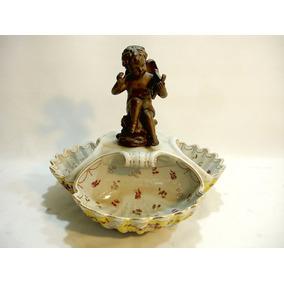 Porta Cartão Petisqueira Em Porcelana Escultura Anjo Bronze