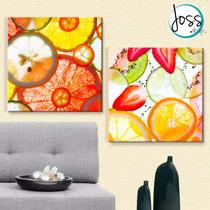 Cuadros Decorativos 2 Pz 40x40 Piezas De Frutas