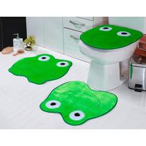 Jogo De Banheiro Tapete Em Pelúcia Verde Formato Sapo 3 Pçs