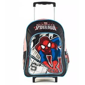 Mochila Spiderman Cars Con Carrito Original Grande 16 Carro