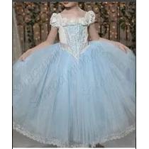 Vestido Fantasia Princesa Cinderela Prontaentregafretegrátis