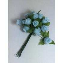144 Mini Rosas Azul Claro Flores Rosinhas Artificiais Cetim