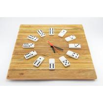 Relógio De Parede - Dominó - Madeira Rústica