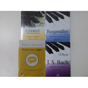 Kit 4 Métodos Órgão Pedaleira Burgmüll Schmoll Czerny Bach