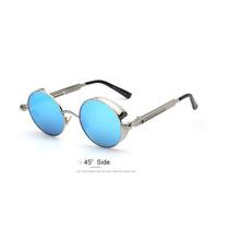 Lentes Gafas De Sol Redondos Steampunk Azul Metálico Y Uv