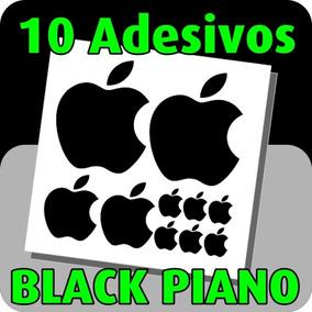 10 Adesivos Maça Apple Black Piano - Iphone Ipad Mac