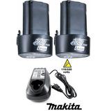 Kit Carregador Bivolt + 2 Baterias 12v Makita Dc10wb Bl1014