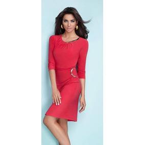 - Oferta Vestido Cherry Elegantes Detalles Cuello Y Cintura