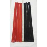 Cierre Plastico Separable Negro Y Rojo De 50cm