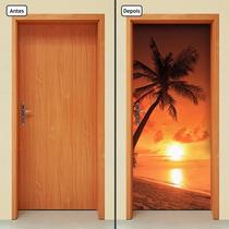 Adesivo Decorativo De Porta - Coqueiro - Praia - 739mlpt