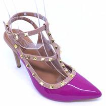 Sapato Feminino Scarpin Couro Verniz Pink Spikes Salto Alto