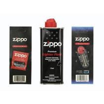 Kit Zippo Gasolina, Piedra Y Mecha En Paquete **.-