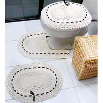 Conjunto Jogo De Banheiro Em Crochê Barbante Fita