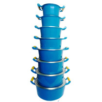 Jogo De Panelas Em Aluminio Fundido Coloridas Azul 8 Peças