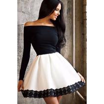 Sexy Vestido Negro Con Blanco Mangas Largas Encaje Strapless
