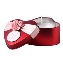 Kit Com 10 Velas Em Lata Decorada Formato Coração -vermelhas