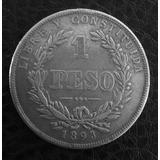[sc] Uruguay Escasísima 1 Peso Falso Época Plata 1893 Bs As