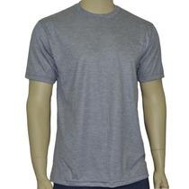 Camiseta Básica Cinza Mescla, Confeccionada Em Malha Fria Pv