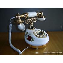 Teléfono Símil Antiguo Porcelana Blanca Con Callier Id