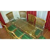 Mesa Com 8 Cadeiras E Vidro Bisotê