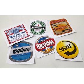 Adesivo Decorativo Geladeira Freezer Cervejas Kit Com 12