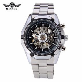 Reloj Winner Sport Watch Skeleton Automático Caratula Negra