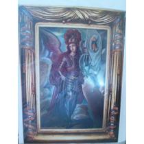 Pintura Al Oleo Y Marco De Cedro Arcangel Miguel