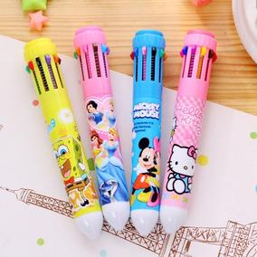 Kit Com 10 Caneta De 10 Cores Hello Kitty, Mickey, Princesas