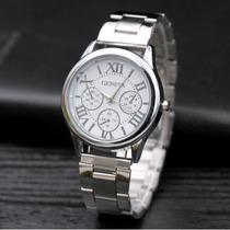 Relógio Feminino Prata De Luxo Marca Geneva Aço Inoxidável