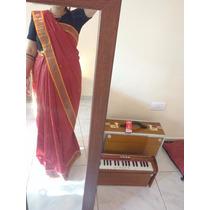 Increible Sari Saree De India Rojo Y Dorado!