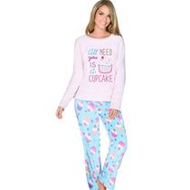 Conjunto Pijama Pantalon Tela Polar Bordado N4627 Vicky Form